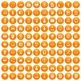 100 IT business icons set orange. 100 IT business icons set in orange circle isolated on white vector illustration stock illustration