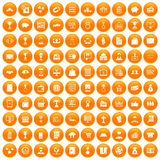 100 business icons set orange. 100 business icons set in orange circle isolated on white vector illustration royalty free illustration