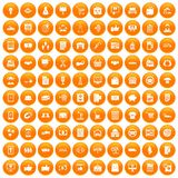 100 business icons set orange. 100 business icons set in orange circle isolated on white vector illustration Stock Illustration