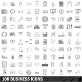 100 business icons set, outline style Royalty Free Stock Photo