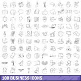 100 business icons set, outline style Stock Image