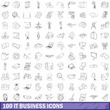 100 it business icons set, outline style Stock Images