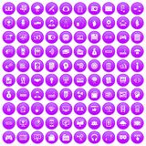 100 IT business icons set purple. 100 IT business icons set in purple circle isolated on white vector illustration Royalty Free Stock Photo
