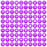 100 business icons set purple. 100 business icons set in purple circle isolated on white vector illustration stock illustration