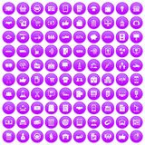 100 business icons set purple. 100 business icons set in purple circle isolated on white vector illustration Stock Image