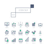 Business icons set in realistic thin linear style Stock Photography