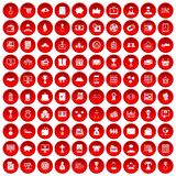 100 business icons set red. 100 business icons set in red circle isolated on white vector illustration Stock Image