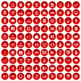 100 IT business icons set red. 100 IT business icons set in red circle isolated on white vector illustration Royalty Free Stock Images