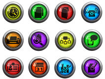 Business icons set. Business round glossy icons for web site and user interfaces Stock Image