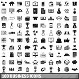 100 business icons set, simple style Royalty Free Stock Photo
