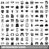 100 business icons set, simple style. 100 business icons set in simple style for any design vector illustration Royalty Free Stock Photo