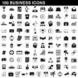 100 business icons set, simple style. 100 business icons set in simple style for any design vector illustration Stock Photos