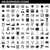 100 business icons set, simple style. 100 business icons set in simple style for any design illustration vector illustration