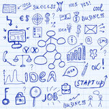 Business icons set sketch. Business signs hand drawing style. Vector illustration.  Royalty Free Stock Photo