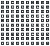 100 Business icons set, square, black Stock Images