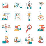 Business icons set. Business with startup ideas realization and team icons set flat isolated vector illustration Royalty Free Stock Photos
