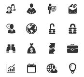 Business icons set. And symbols for web user interface Royalty Free Stock Images