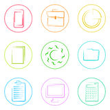 Business Icons Set Thin Line Simple Colorful. Collection Minimalistic Style Stock Image