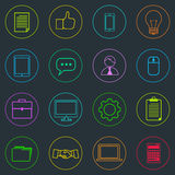 Business Icons Set Thin Line Simple Colorful Royalty Free Stock Photos