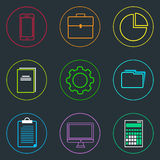 Business Icons Set Thin Line Simple Colorful. Collection Minimalistic Style Royalty Free Stock Images