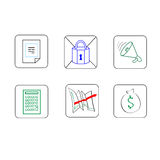 Business Icons Set Thin Line Simple Colorful. Collection Minimalistic Style Royalty Free Stock Photos