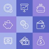 Business icons set.Vector illustration. Illustrated icons on the theme of banking and finance, various simple linear style Royalty Free Stock Image