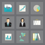 Business icons set. Vector set of business icons in modern flat design on gray background Royalty Free Stock Image