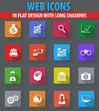 Business icons set. Business web icons in flat design with long shadows Royalty Free Stock Photography