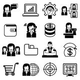 Business icons. Set of 16 business icons on white background stock illustration