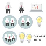 Business icons, business men, business women, business people Stock Photos