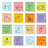 Business icons sticky note paper. Set of 16 business icons in colorful sticky note paper royalty free illustration