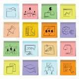 Business icons sticky note paper. Set of 16 business icons in colorful sticky note paper stock illustration