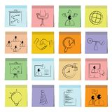 Business icons sticky note paper. Set of 16 business icons in colorful sticky note paper Stock Photography