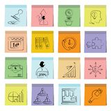 Business icons sticky note paper Stock Image