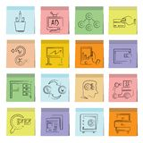 Business icons sticky note paper Stock Images