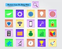 Business Icons On Sticky Notes. Vector Illustration Ready-To-Use 21 Colorful Business Icons On Sticky Notes Designed as Multiple Objects Involved In Work Stock Photography