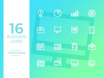 16 Business Icons, Business symbol. Outline Icons stock illustration