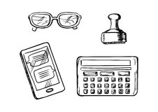 Business icons and symbols sketches. Smartphone with chat messages, calculator, glasses and retro rubber stamp. Sketch icons and symbols Stock Image