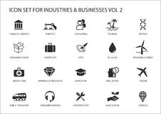 Business icons and symbols of various industries / business sectors like consulting,tourism,hospitality,agriculture. Renewable energy,real estate,consumer Stock Photos