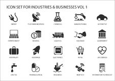 Business icons and symbols of various industries / business sectors like financial services industry, automotive, life sciences Royalty Free Stock Photos