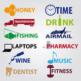 Business icons with text eps10 Stock Images