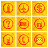 Business icons on texture Stock Images
