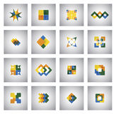 Business icons on various shapes and colors - concept vector gra Royalty Free Stock Photos