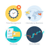 Business icons. Vector collection of colorful flat business and finance icons. Design elements for mobile and web applications Royalty Free Stock Photo