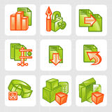 Business icons - vector set. Business icons - green and orange vector illustration Royalty Free Stock Photos