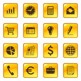 Business icons on web buttons Royalty Free Stock Photos