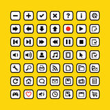 Business icons on web buttons. Web icons on buttons  illustration in yellow style Stock Image