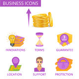 Business icons for web design or presentations. Stock Photos