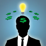 Business Idea. Illustration of man thinking of business idea Stock Image