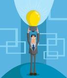 Business idea. Businessman holding glowing lightbulb, Business idea concept Stock Images